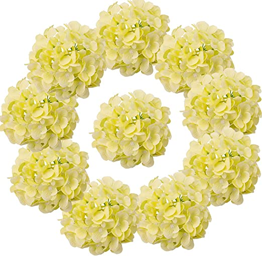 Amazon Com Lushidi 10pcs Silk Hydrangea Heads With Stems