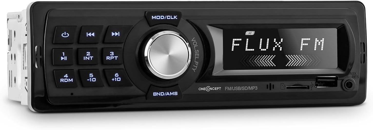 oneConcept MD-400 RDS Radio para Coche (Autoradio 4x25W, Puerto USB, microSD, Receptor FM RDS, compatibilidad MP3 Pre-out, Entrada Frontal AUX, 18 memorias, Pantalla LCD)