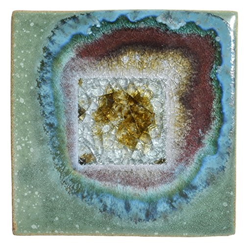 Dock 6 Pottery 5.5-inch Square Trivet with Fused Glass, Green with Accents from Dock 6 Pottery