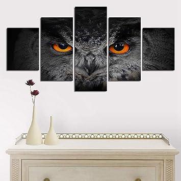 QFQH Leinwand Wandkunst Bilder Rahmen Küche Restaurant Decor 5 Stücke Tier  Eule Augen Moderne Wohnzimmer HD