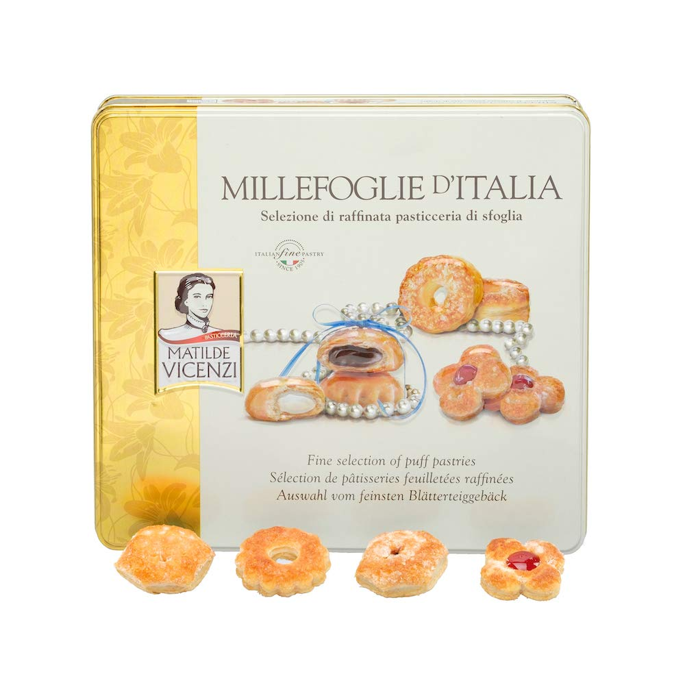 Millefoglie D'Italia by Matilde Vicenzi | Assortment of Patisseries, Puff Pastries and Cookies | Made in Italy | 8.46oz (240g) Decorative Tin