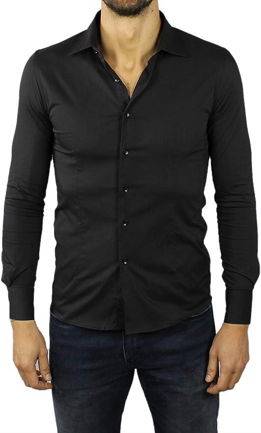 Camicia Uomo Coreana Manica Lunga Slim Fit Cotone Avvitata Bianca Blu Nera Celeste Sartoriale Classica Aderente Elegante Casual S M L XL XXL