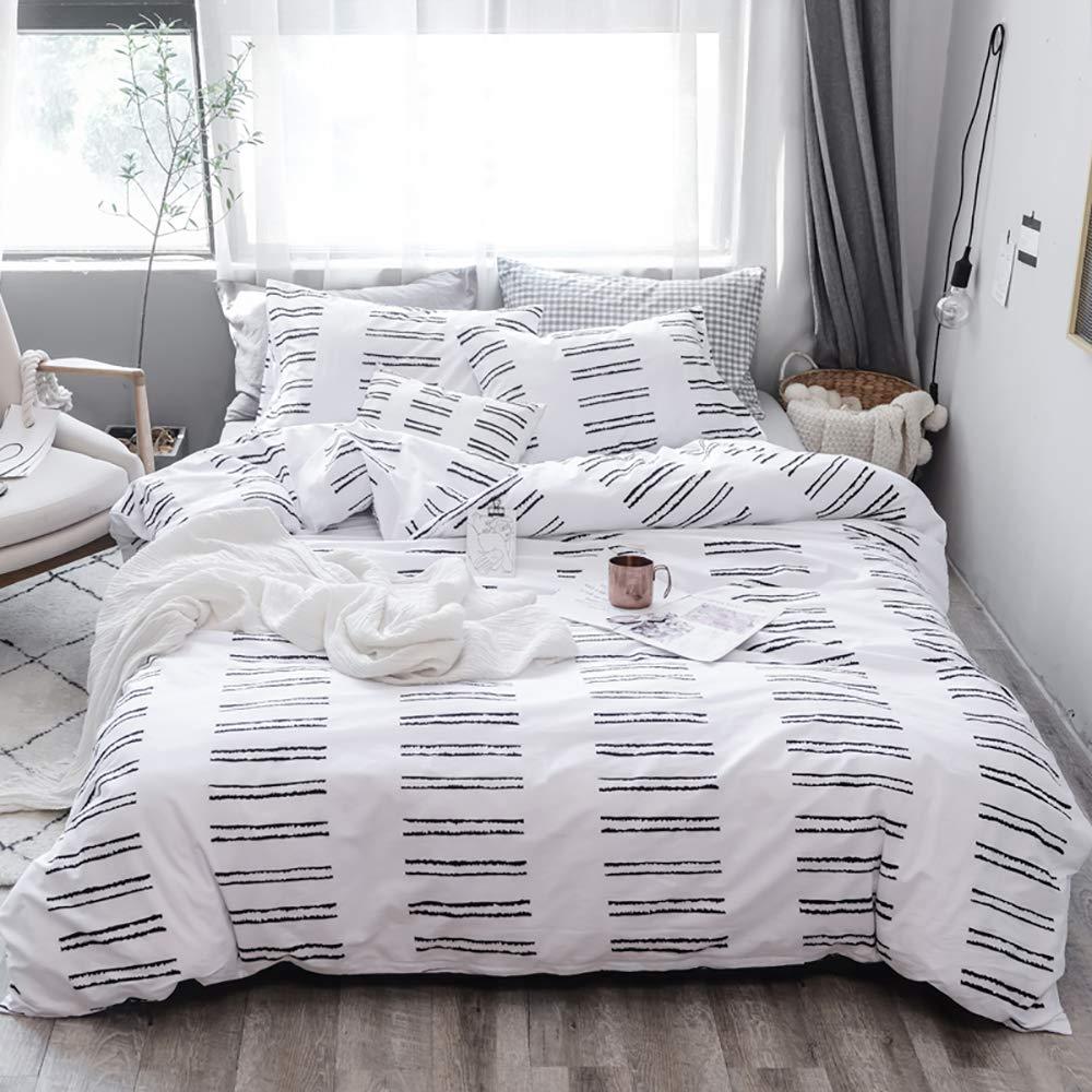 TanNicoor - Geometric Duvet Cover Set,Ultra Soft Hypoallergenic Microfiber Bedding,Black Striped Pattern Printed on White,Teens Boys Girls Bedding Set Zipper Closure Comforter Cover(3pcs, Queen Size)