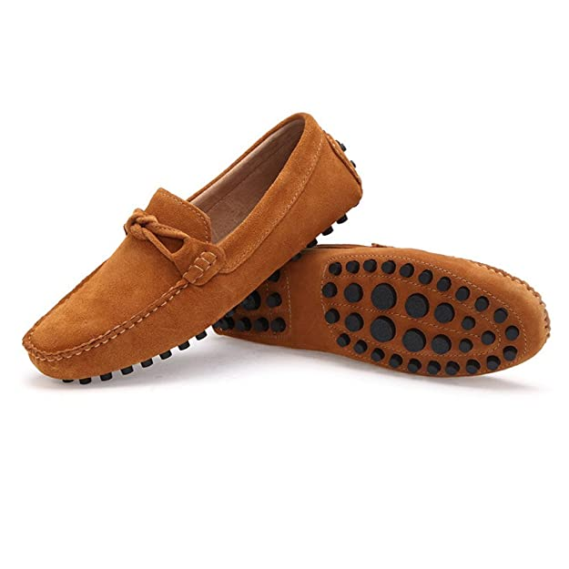 Amazon.com | 2018 Mens Driving Penny Low-top Loafers Suede Genuine Leather Casual Moccasins Slip-On Boat Shoes | Loafers & Slip-Ons
