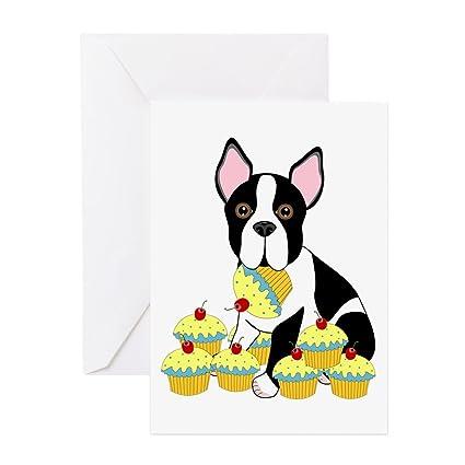 Amazon Cafepress Boston Terrier Cupcakes Greeting Card