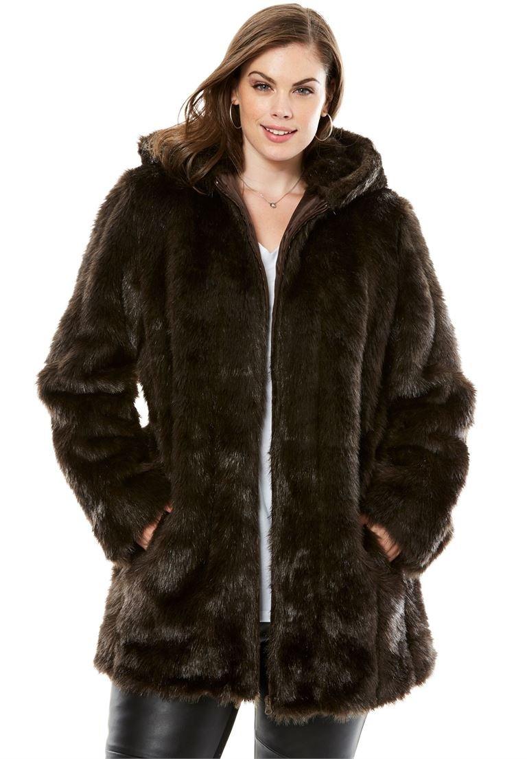 Roamans Women's Plus Size Short Faux Fur Coat Ranch,14/16