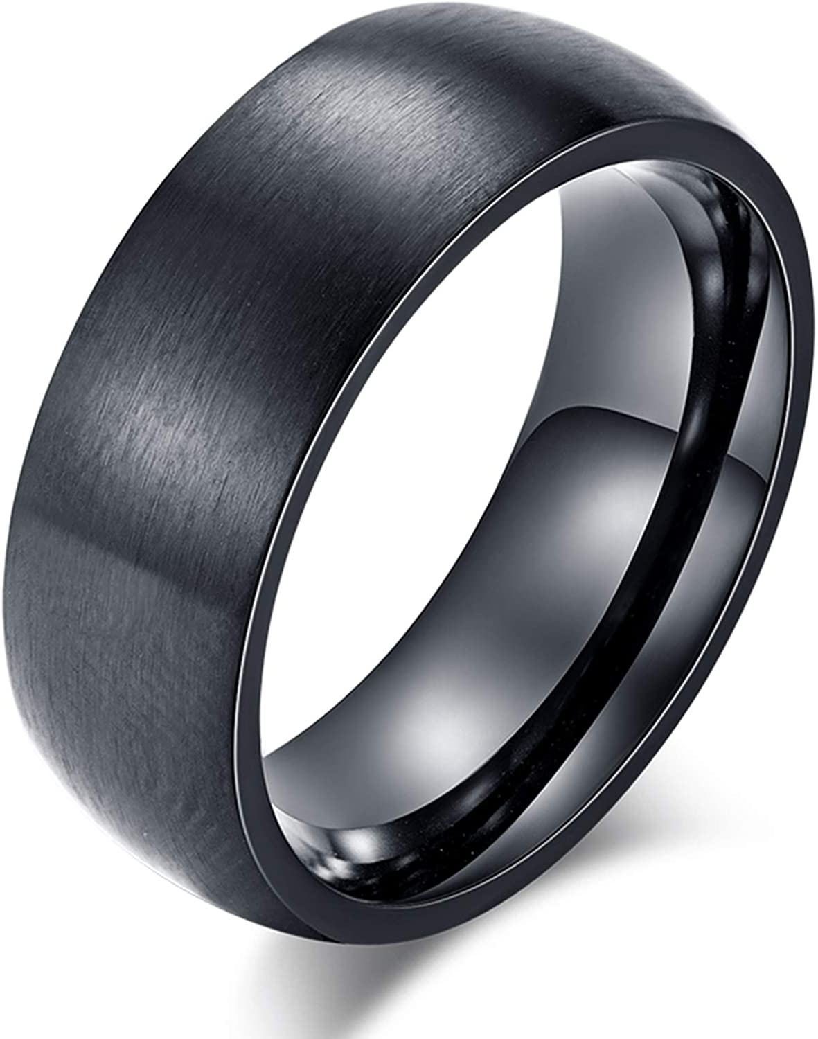Comfort Fit LineAve Mens Stainless Steel Brushed Finish Ring 8mm Wedding Band