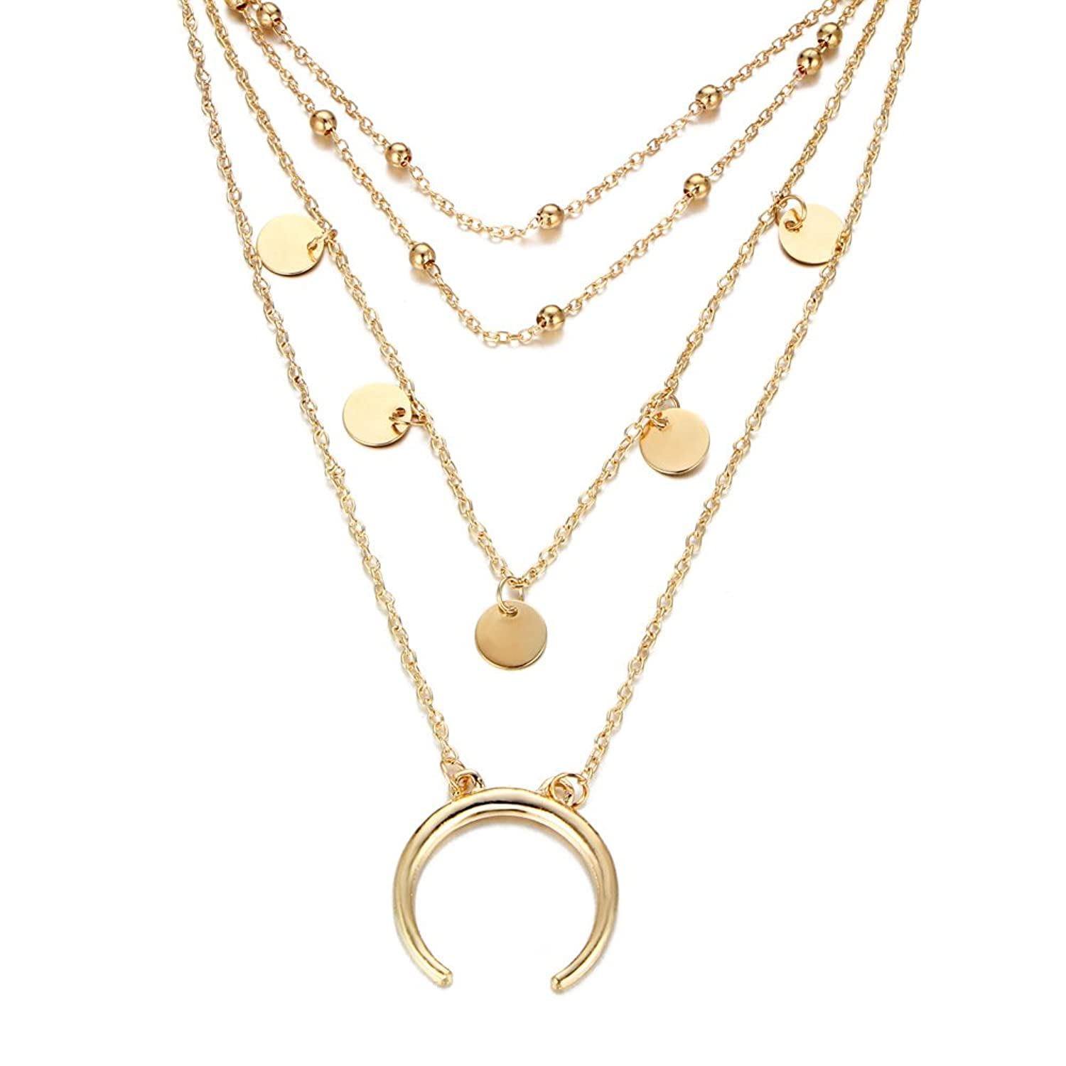 Lureme Multi-layer Necklace Choker Beads Disc Coin Horn Necklace for Women (nl005662)