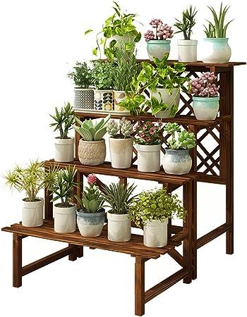 Estantería para Macetas Bastidor para Macetas Soporte para Flores y Planta Hierbas Exterior Interior Jardín Escalera Estantería de Madera Decoración Exposición,4 Escalera: Amazon.es: Hogar