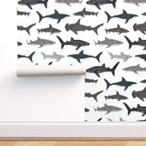Spoonflower Pre-Pasted Removable Wallpaper, Shark, Nautical, Ocean, White, Gray, Navy, Hammerhead, Sharks, Baby Boy, Animal Print, Water-Activated Wallpaper, 24in x 108in Roll