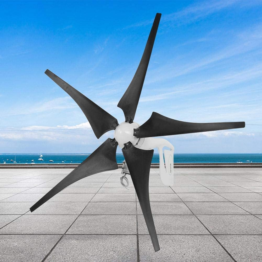 Generador de turbina eólica, potente generador de turbina eólica Cinco palas eólicas Controlador de viento 400W 650 RPM para el hogar/camping(24V)