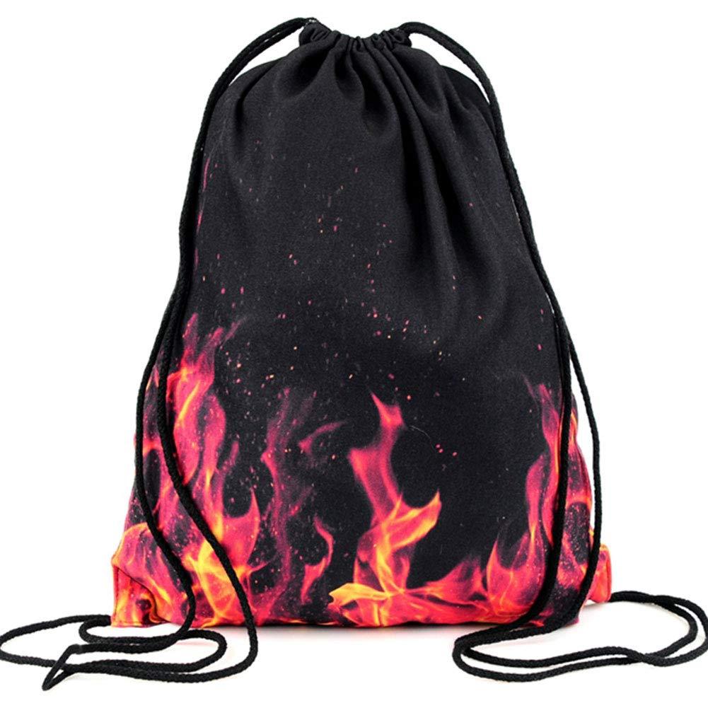 PREMYO Sac /à Dos Cordon avec Motif Impression Flammes Joli L/éger Ficelles en Tissu Filet Pratique en Voyage Ballade /à V/élo Sport Gym Piscine