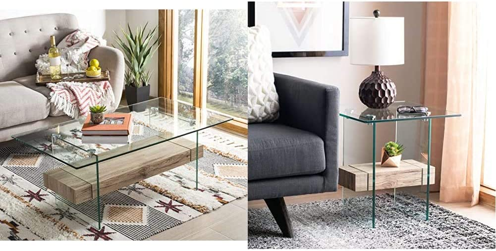 Safavieh Home Kayley Natural and Glass Coffee Table & Home Kayley Natural and Glass Accent Table