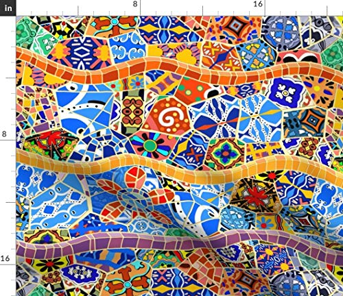 Traditional Spanish Tiles Fabric - Barcelona Bohemian Boho Mosaic Serpentine Gaudi Scatter Flower Curvy by Elramsay Printed on Petal Signature Cotton Fabric by The Yard
