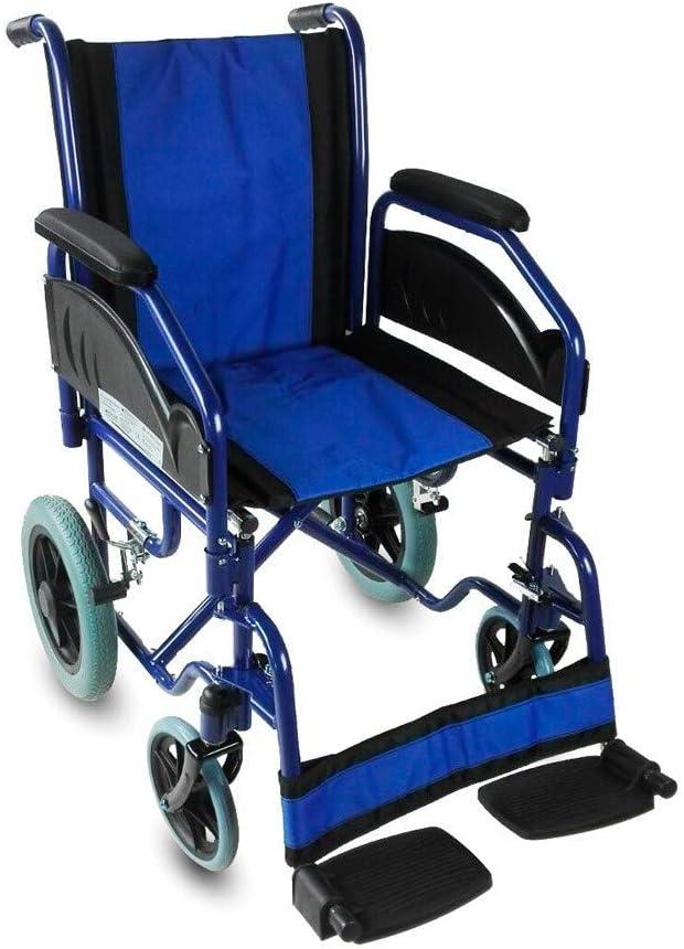 Mobiclinic, Modelo Maestranza, Silla de ruedas plegable para minusválidos, aluminio, freno en manetas, reposapiés y reposabrazos extraíbles, color Negro y Azul, asiento 45 cm, ultraligera