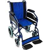 Mobiclinic, Maestranza, Silla de ruedas plegable para ancianos y minusválidos, silla de ruedas manual, acero, freno en manetas, reposapiés y reposabrazos extraíbles, Negro y Azul, ligera