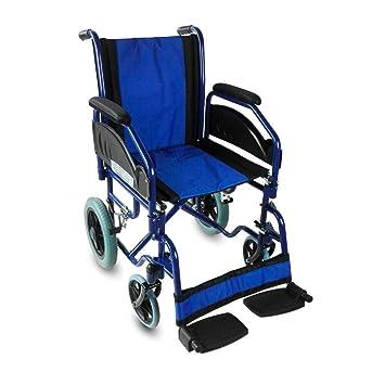 Silla de ruedas | Plegable | Reposabrazos y reposapiés extraíbles | Ortopédica | Azul | Maestranza | Mobiclinic