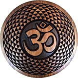 Spiritual Sacred Om - Aum (ॐ) Yoga Meditation, Torus Mandala, Pure Wood Wall Hanging Art Sculpture Decor (24'', Mahogany-Ebony)