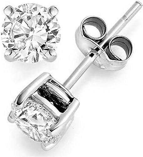 PLATINUM SILVER DIAMOND SET 4 PRONG BASKET SETTING WHITE SAPPHIRE STUD EARRINGS