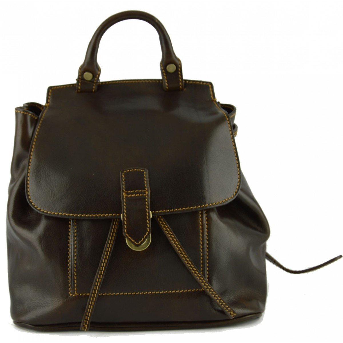 Made In Italy Genuine Leather Women Backpack Color Dark Brown - Backpack B01LZB2F9K