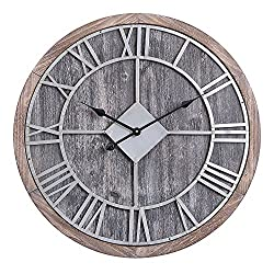 Utopia Alley Oversized Roman Round Wall Clock -28 in Grey Wood Finish