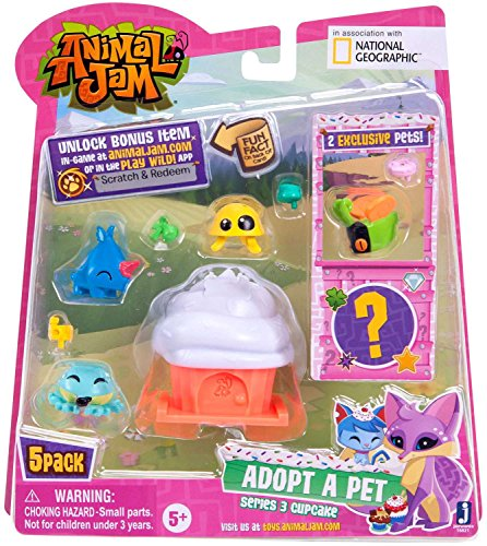Animal Jam 5 Figure Pack (Adopt a Pet) (Series 3) (Cupcake Style 1) Animal Kam 5 (Fun Facts About Cupcakes)