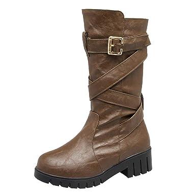 4636e629447d2d LuckyGirls Bottines à Clous Femme, Bottes Hiver Fille Martin Bottes Shoes  Escarpins Vintage Femmes Bas Bottes Britanniques Sportif Et éLéGant Neuf Pas  Cher: ...