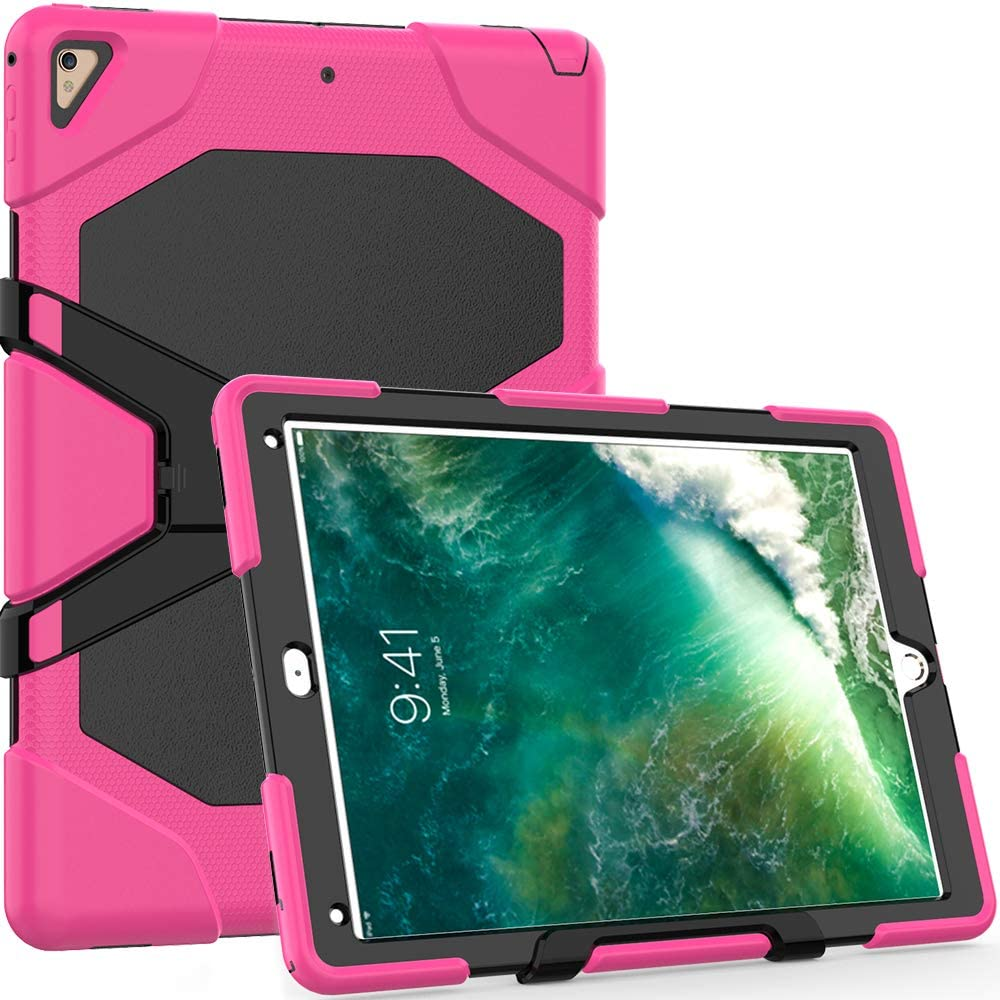 TianTa iPad Pro 12.9 2017/2015 Case, Hybrid Three Layer Heavy Duty Defender Shockproof Protective Case Cover with Built-in Screen Protector & Kickstand for Apple iPad Pro 12.9 (2015 & 2017) - Rose
