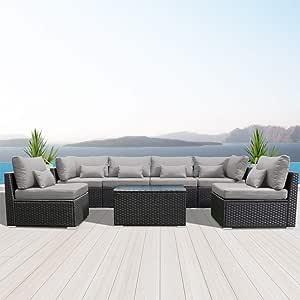Modenzi 7G-U Outdoor Sectional Patio Furniture Espresso Brown Wicker Sofa Set (Light Grey)