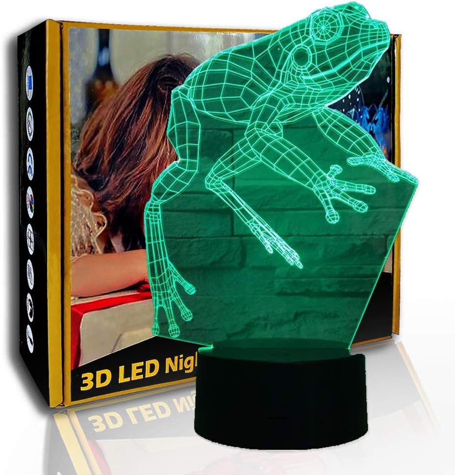 JINYI Rana de dibujos animados de luz nocturna 3D, lámpara de noche de ilusión LED, decoración de la habitación, B- Base negra remota (7 colores), Regalo para amigo, Cambio colorido