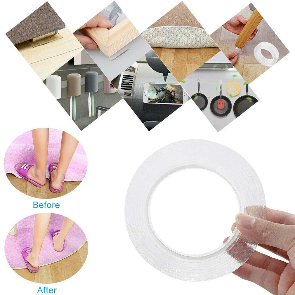 Multi-Functional Nano-Adhesive Residue-Free Transparent Super-Klebstoff Tape Roll 3 M//9.85 FT Klar Anti-Rutsch-Doppelseitig klebrige