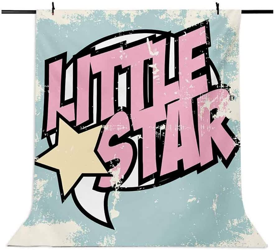 Popstar Party 10x12 FT Backdrop Photographers,Grungy Display Pop Art Style Retro Little Star Typography Background for Baby Shower Birthday Wedding Bridal Shower Party Decoration Photo Studio