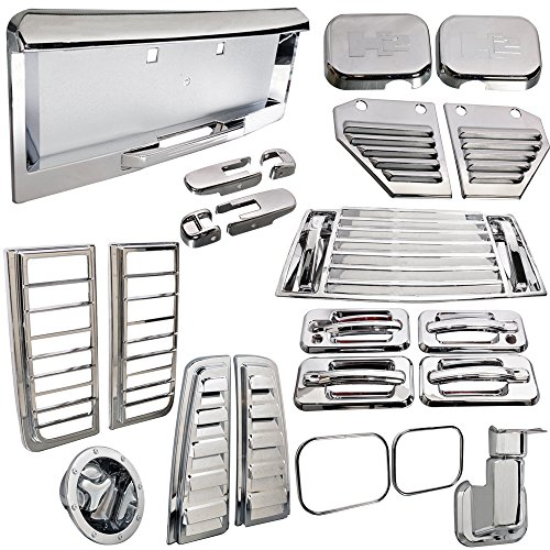 IKON MOTORSPORTS Vent Lamp Door Cover Compatible with 2003-2005 Hummer H2 | Chrome ABS License 36Pcs 2004