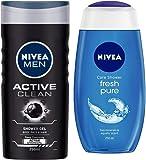 NIVEA MEN Hair, Face & Body Wash, Active Clean Shower Gel, 250ml & Shower Gel, Fresh Pure, 250ml Combo