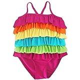 swimcos (スイムコス) カラフル キッズ 水着 子供 ガールズ フリル 虹 レインボー カラー