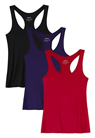58fab2d71f43f Vislivin Tank Tops for Women Racerback Tank Top Basic Workout Tanks  Black DB Red