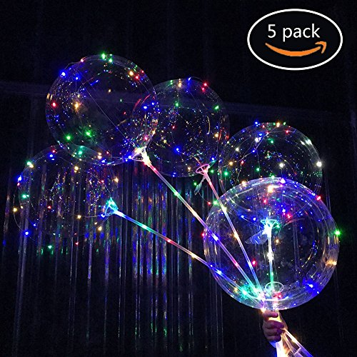 Bubble Led Balloons,Molie 5PCS Party Led Glowing Balloons, Light Up Transparent Bobo Balloon for Birthday Wedding Valentine Decoration (Light Valentines Up Decorations)