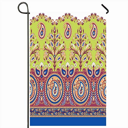 Ahawoso Seasonal Garden Flag 12x18 Inches Graphic Blue Indian Paisley Border Abstract Cute Drawing Ethnic Floral Flower Design Red Home Decorative Outdoor Double Sided House Yard Sign