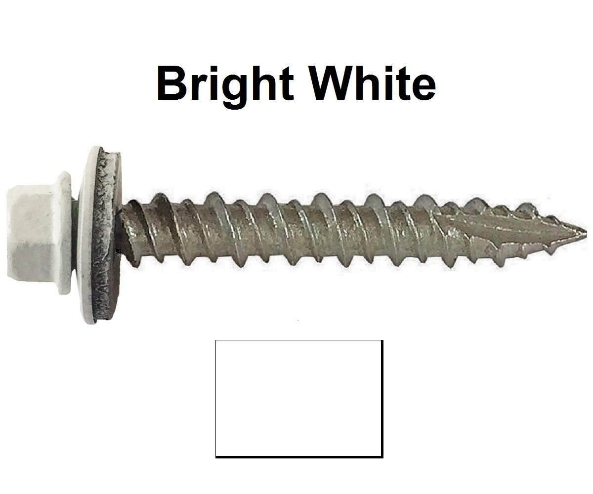 "#10 Metal ROOFING SCREWS: (250)Screws x 1-1/2"" BRITE WHITE Hex Washer Head Sheet Metal Roof Screw. Metal to wood, sheet metal roofing siding screws. Metal Roof screw w/colored head~For Roofing"