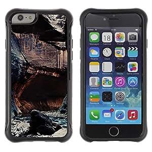 Fuerte Suave TPU GEL Caso Carcasa de Protección Funda para Apple Iphone 6 / Business Style Cliffs River Nature Rocks Water