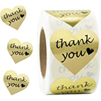 """Gold Heart Shape Thank You Stickers, Foil Decorative Sealing Labels, 500 Stickers/Roll, 1.5"""" Diameter (1 Roll)"""