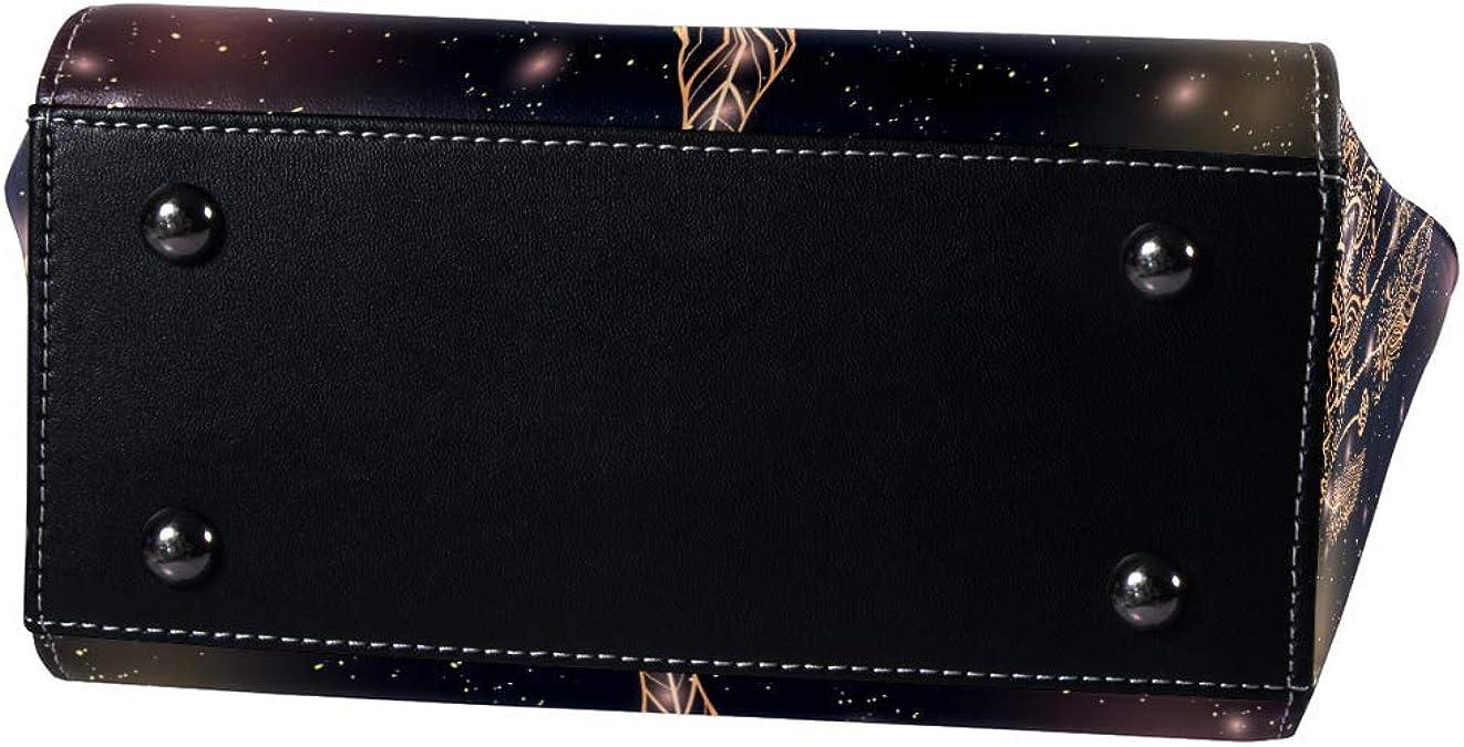 Bolso de mano con asa superior para mujer, de piel, con atrapasueños étnico boho-Chic con patrón de ojos mágicos y plumas: Amazon.es: Zapatos y complementos