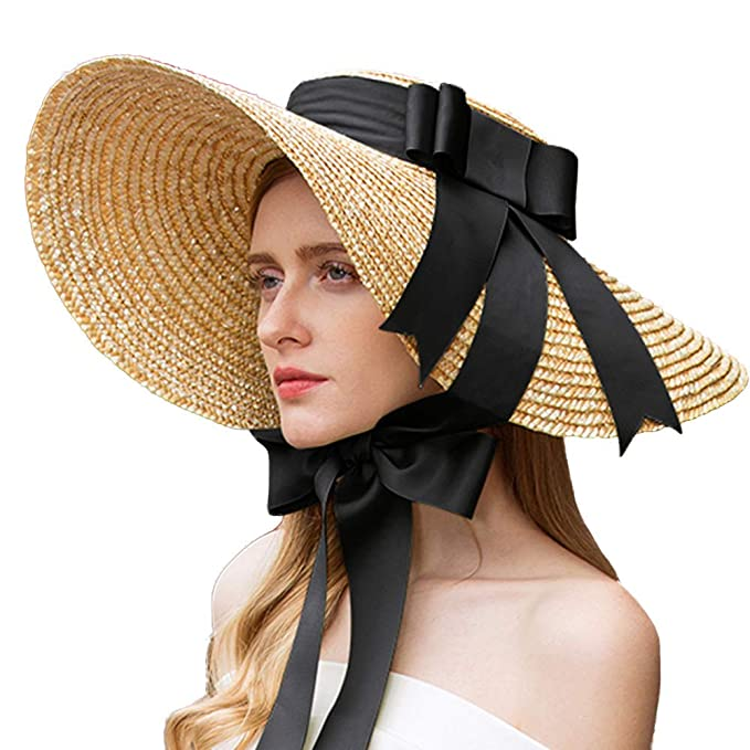 Victorian Hat History | Bonnets, Hats, Caps 1830-1890s FADVES Hepburn Style Straw Sun Hat Wide Brim Kentucky Derby Travel Beach Cap Ribbon Bow $59.99 AT vintagedancer.com