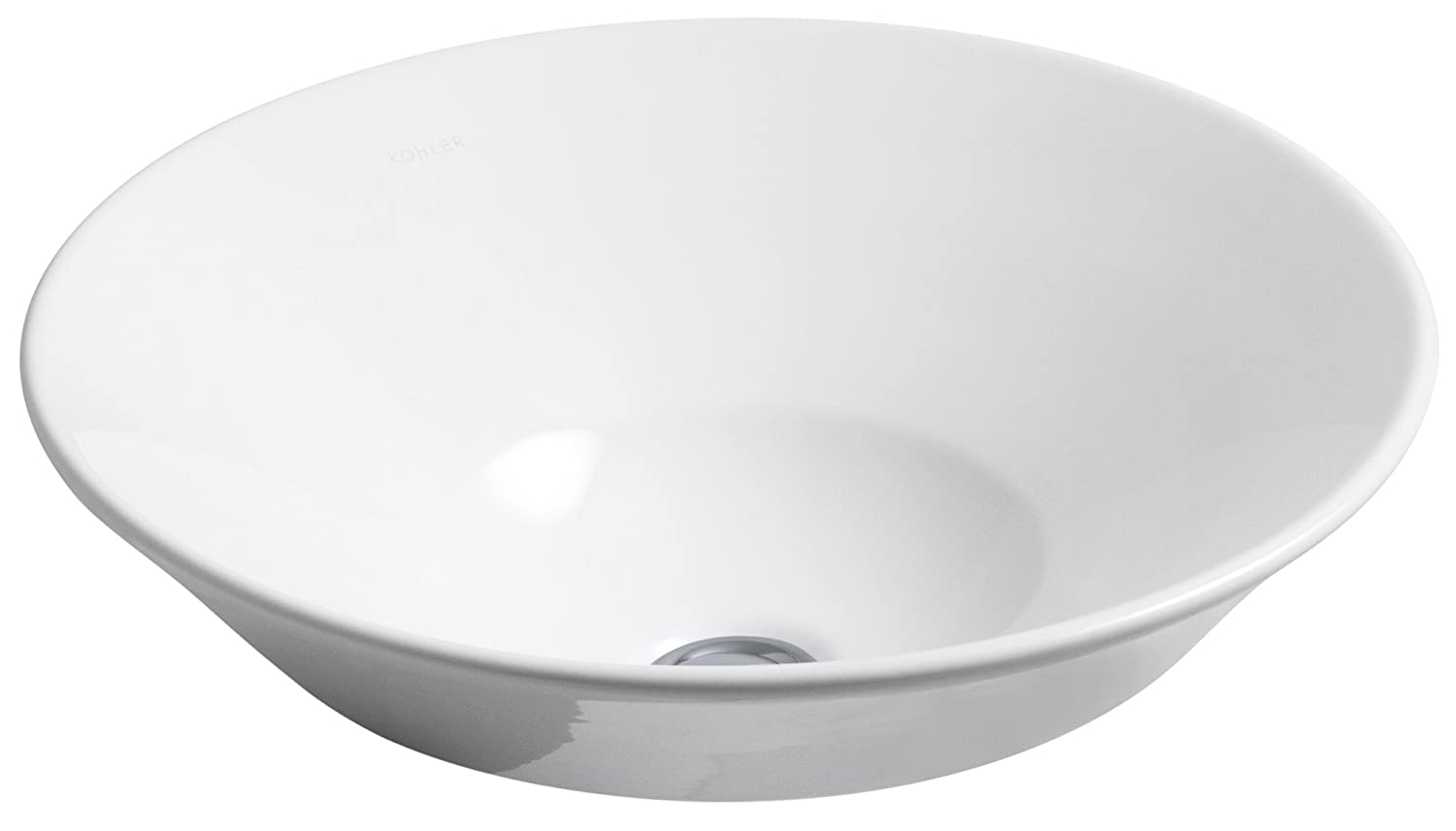 Kohler 2200-0 Vitreous china Wall Mounted Round Bathroom Sink, 24 x 20.5 x 9.75 inches, White