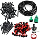 DIY Micro Irrigation Drip System,30 Dripper & Fixed stem, 29 Tee Joints, 2 Faucet Fittings- Tubing Watering Drip Kit for Garden Landscape Flower Bed Patio Plants (82ft)