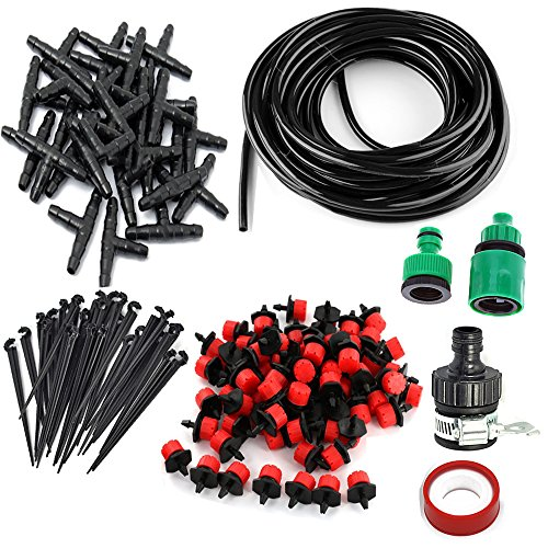 Drip Watering Landscape Kit - DIY Micro Irrigation Drip System,30 Dripper & Fixed stem, 29 Tee Joints, 2 Faucet Fittings- Tubing Watering Drip Kit for Garden Landscape Flower Bed Patio Plants (82ft)