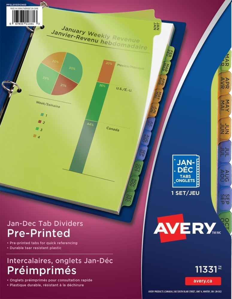 Avery Plastic Preprinted Tab Dividers Bundle, 8.5 x 11 inch, Jan-Dec Tab, Multi-Color Tab, 5 Packs (11331) - Bundle Includes a Letter Opener by Avery (Image #2)