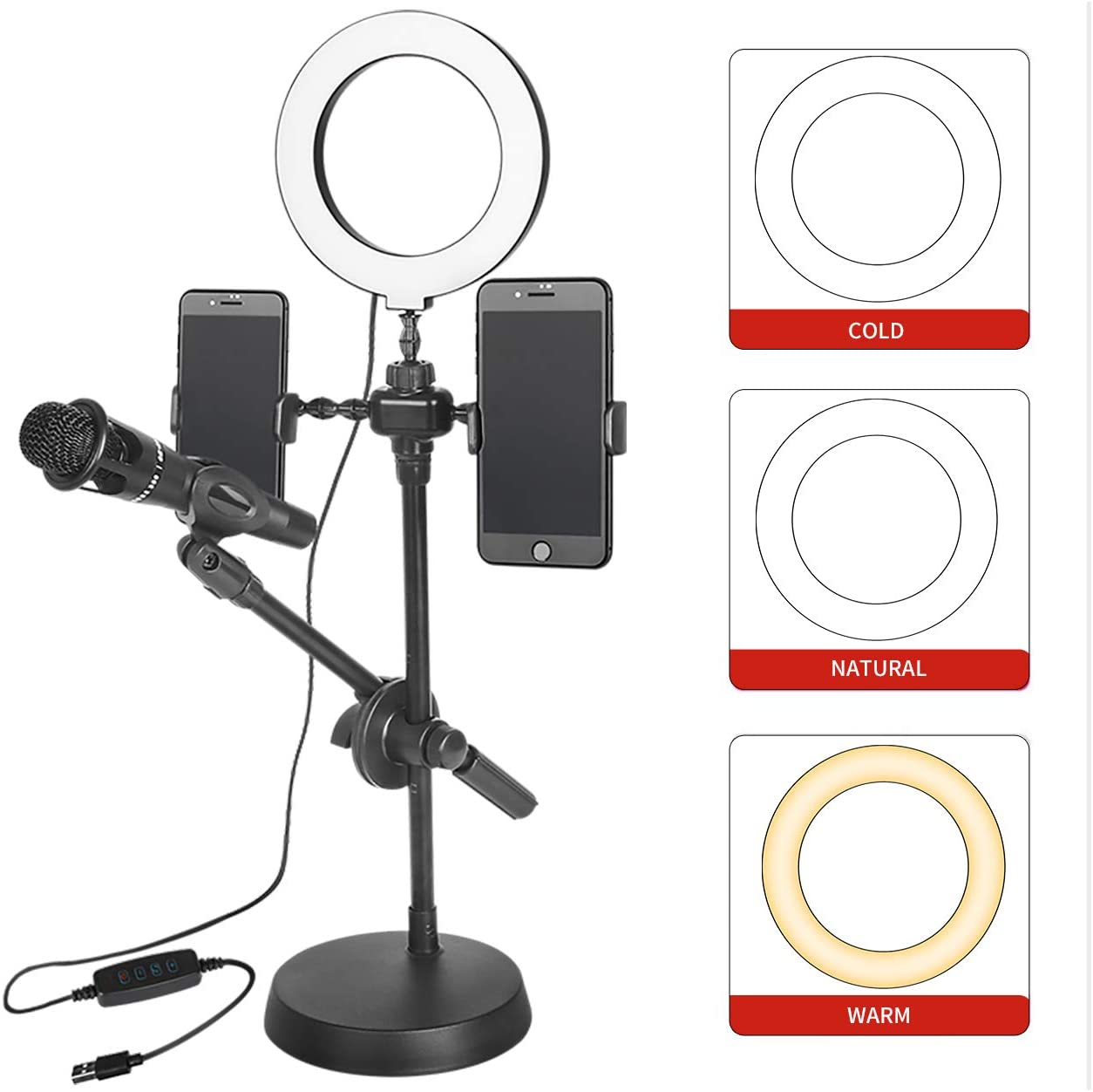 Depusheng Selfie Ring Light with Phone Holder and Microphone Stand 3 Light Modes 10 Brightness Level for Video Live Stream Broadcast USB Powered