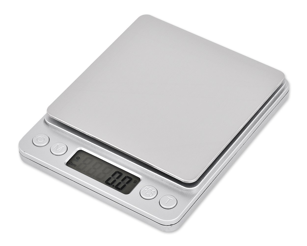 DSstyles Weight Scale Stainless Steel Kitchen Scale 2000g x 0.1g Digital Scale with LCD Display and 2 Clear Trays