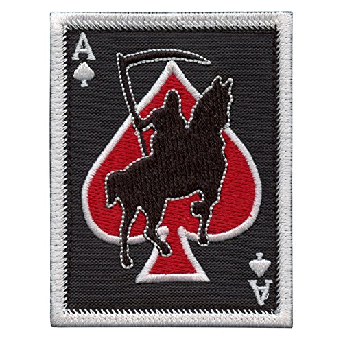 LEGEEON Ace of Spades Grim Reaper Death Card Morale Tactical Skull Skeleton Embroidery Touch Fastener Patch